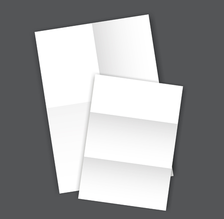 Set of two blank folded Paper Page blank A4 mockup.