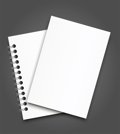 Realistic sheets of paper with spiral and brochure mockup cover template.