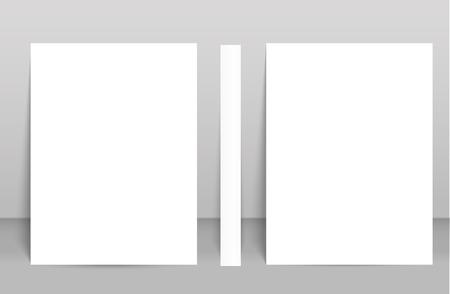 Blank poster bi fold brochure mockup cover template. Illustration