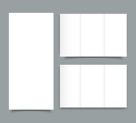 Blank tri fold brochure mock up portrait cover. Isolated.