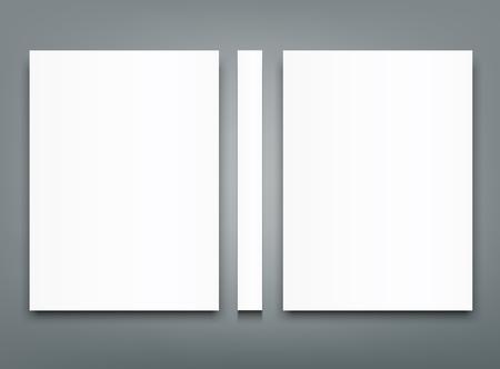 Blank bi fold brochure mock-up cover template design. Reklamní fotografie - 95229534