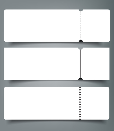 Set of blank event concert ticket mock-up template. Concert, party or festival ticket design template. Vectores