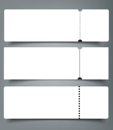 Satz der leeren Ereigniskonzertkarten-Modellschablone. Entwurfsvorlage für Konzert-, Party- oder Festivaltickets.