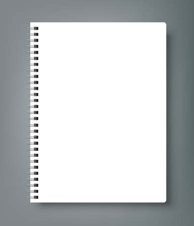 Realistic sheets of paper with spiral and brochure mock up cover template.