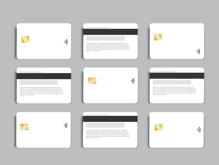 Set of banking chip credit card realistic mockup