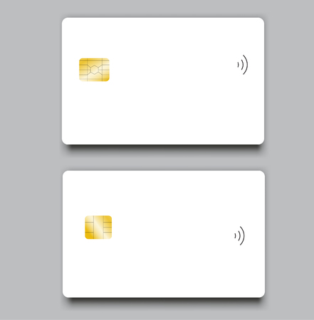 Set of banking chip credit card realistic mockup. Clear plastic card template Ilustrace