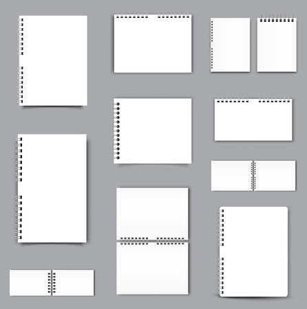 Blank Square notebook calendar mockup cover template. Vector illustration.