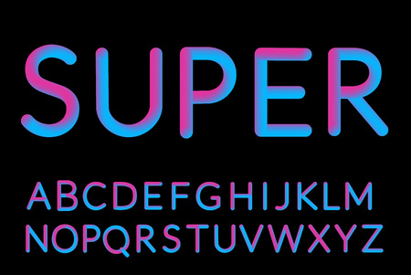 Neon Holographic Bubble Typeset. Fluid color typeface set isolated on black background.