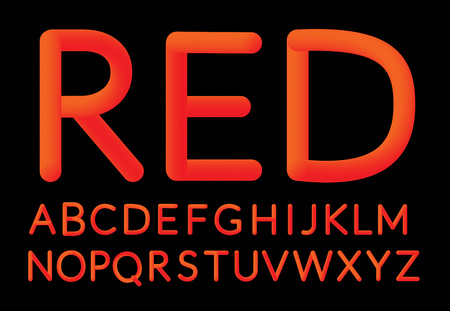 Neon red Bubble Typeset. Fluid color typeface set isolated on black background. Creativity concept. Visual communication poster design. Ilustrace