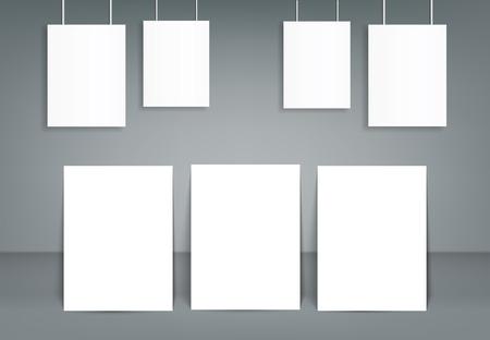 Set of blank poster bi fold brochure mockup cover template. Vector illustration. Ilustrace