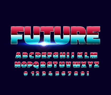 Shiny Chrome alphabet retro font. Sci-fi future style. Vector typeface for flyers, headlines, posters etc Reklamní fotografie - 98678488
