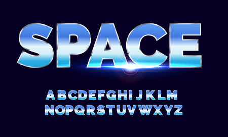 Retro alphabet font. Sci-fi future style. Vector typeface for flyers, headlines, posters etc