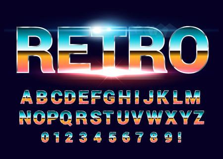 80's retro alphabet font. Sci-fi future style. Vector typeface for flyers, headlines, posters etc Ilustrace
