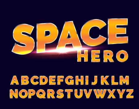 Shiny chrome alphabet retro font. Sci-fi future style vector typeface for flyers, headlines, posters.