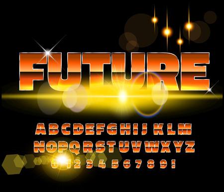 80's retro alphabet font. Sci-fi future style. Vector typeface for flyers, headlines, posters etc Reklamní fotografie - 99531004