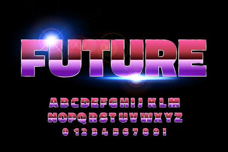 80's retro alphabet font. Sci-fi future style. Vector typeface for flyers, headlines, posters etc Reklamní fotografie - 99531003