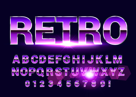 Shiny Chrome alphabet retro font. Sci-fi future style. Vector typeface for flyers, headlines, posters etc