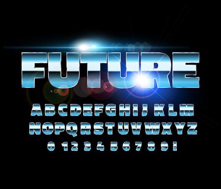 Retro alphabet font. Sci-fi future style. Vector typeface for flyers, headlines, posters etc Reklamní fotografie - 99788486