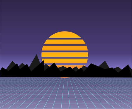 Future retro landscape of the 80s. Vector futuristic synth retro wave illustration in 1980s posters style. Suitable for any print design in 80s style.