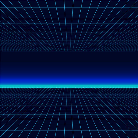 Future retro line background of the 80s. Vector futuristic synth retro wave illustration in 1980s posters style Ilustrace