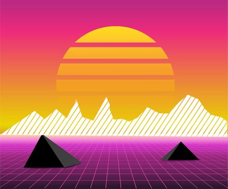 Retro 80s sun landscape futuristic. Sci-fi background 80s style. Suitable for any print design in 80s style. Reklamní fotografie - 100665329