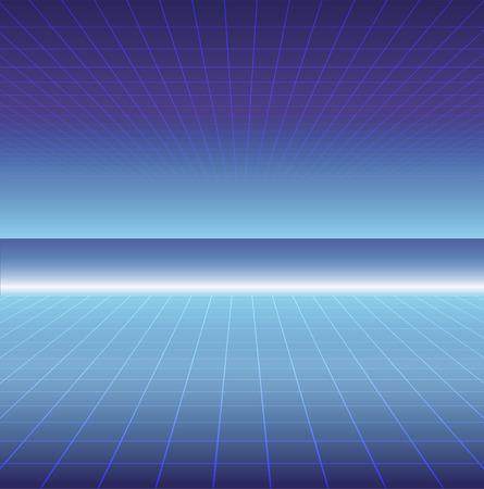80s sun landscape futuristic. Sci-fi background 80s style. Use for any print design in 80s style. Reklamní fotografie - 100665328