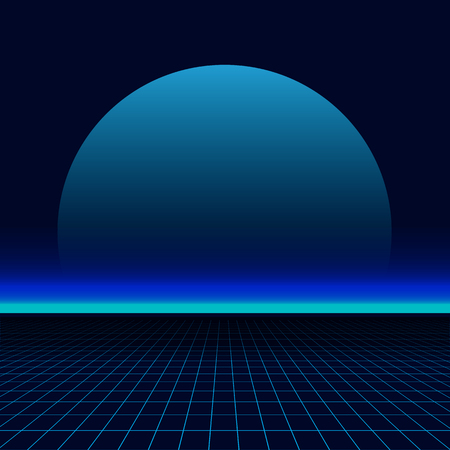 80s sun landscape futuristic. Sci-fi background 80s style. Use for any print design in 80s style.
