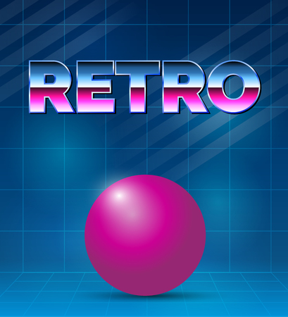 80s Retro future background. Vector futuristic synth retro wave illustration in 1980s posters style. Reklamní fotografie - 100665353