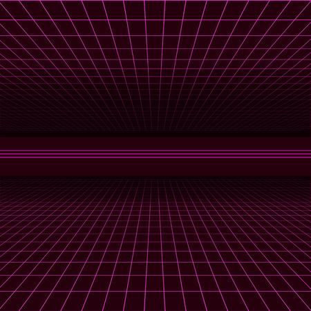 Future retro line background of the 80s. Vector futuristic synth retro wave illustration in 1980s posters style Ilustrace