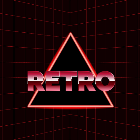 Future retro line background of the 80s. Vector futuristic synth retro wave illustration in 1980s posters style Reklamní fotografie - 100665352
