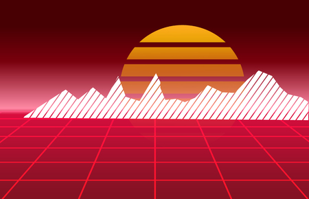 80's Retro future background. Vector futuristic synth retro wave illustration in 1980's posters style. Reklamní fotografie - 100677060
