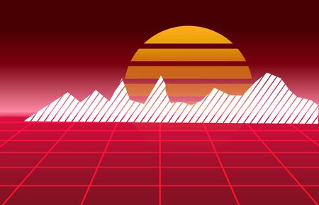 80's Retro future background. Vector futuristic synth retro wave illustration in 1980's posters style. Ilustrace