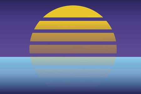 Retro 80s sun landscape futuristic. Sci-fi background 80s style. Suitable for any print design in 80s style. Reklamní fotografie - 102010638