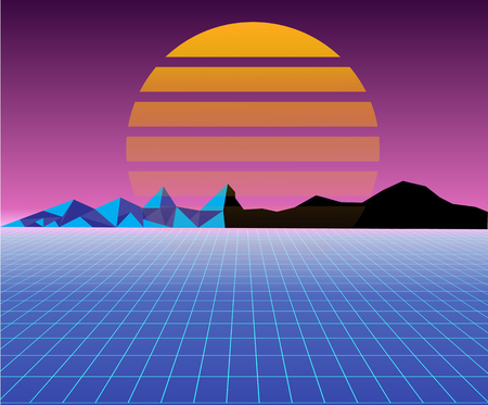 Retro 80s sun landscape futuristic. Sci-fi background 80s style. Suitable for any print design in 80s style. Ilustrace