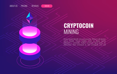 Cryptocoin mining farm. Cryptocurrency and Blockchain Isometric Concept. Data Transmission and Processing. For your web design, banner and presentation.