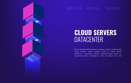 Big data Datacenter isometric concept. 3d hosting server or data center room background