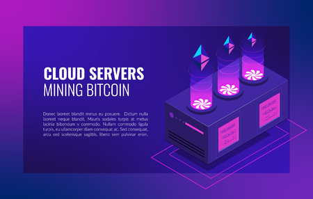 Smart Ethereum Mining farm. Cryptocurrency and blockchain network business isometric vector illustration