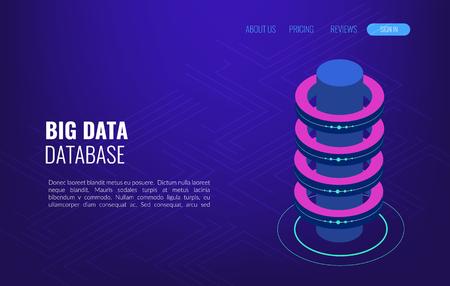Big data concept access storage distribution information management. Isometric vector, web hosting and server room  イラスト・ベクター素材