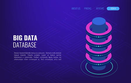 Gestion des informations de distribution de stockage d'accès au concept Big Data. Vecteur isométrique, hébergement Web et salle de serveurs