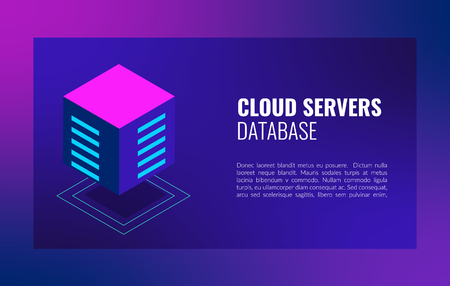 Cloud servers database isometric concept. Hosting server Computer storage or farming workstation Illustration