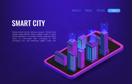 Smart city isometric concept. Building automation with computer networking illustration. IoT platform future technology.