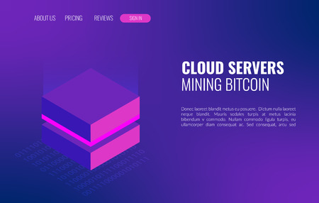 Cloud servers mining bitcoin isometric concept. 3d datacenter or blockchain background. Ilustração