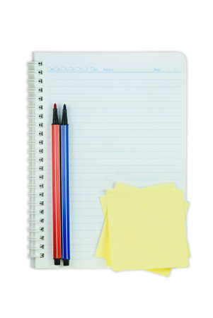 Book, colorful pen and post it isolated on white background  photo