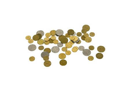 Heap of golden and silver coins isolated on white photo