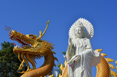 Guan Yin and dragon at Wat Thaton photo