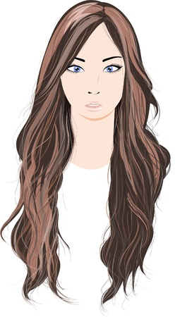 brown long hair Vector