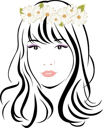 make up woman: woman face Illustration