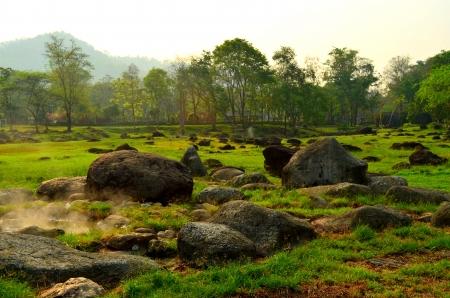 fang: garden view of Fang hot spring,Thailand Stock Photo