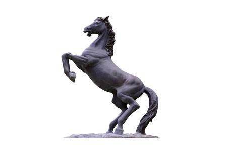 Paard standbeeld op een witte achtergrond Stockfoto