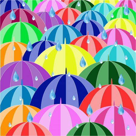 A colorful umbrella on a rainy day,Umbrella And rain Drops Vector